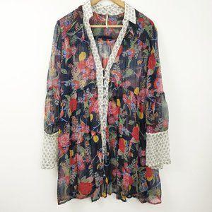 Free People Floral Mixed Print Sheer Shirt Dress M